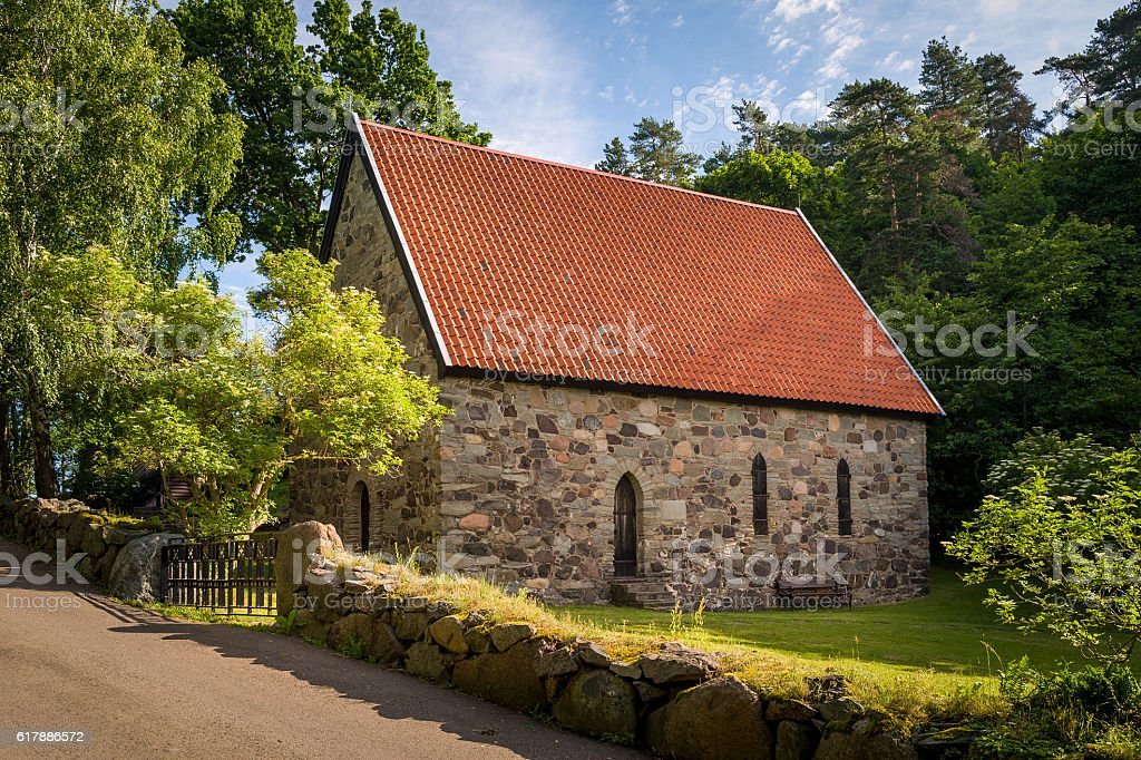 Lovoy chapel on the spring's water source stock photo