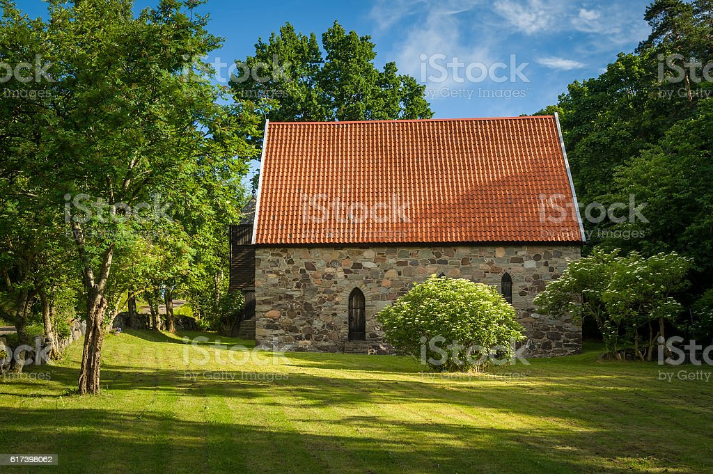 Lovoy kapell - medieval chapel on the spring's water stock photo