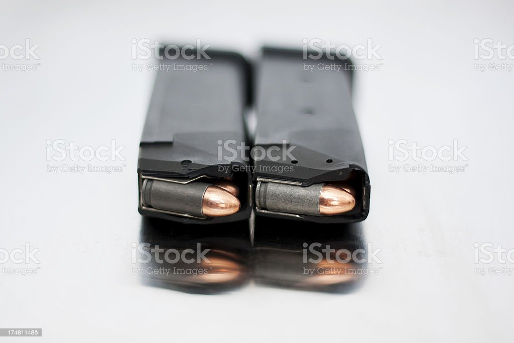Low and High Capacity 9mm Magazines stock photo