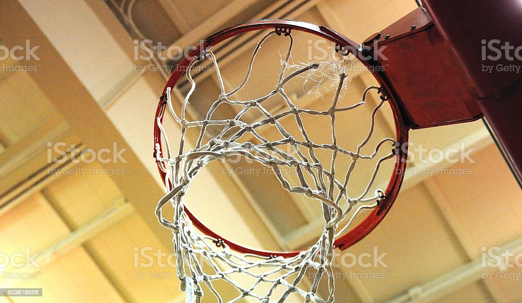 Low Angle Basketball Hoop And Net stock photo
