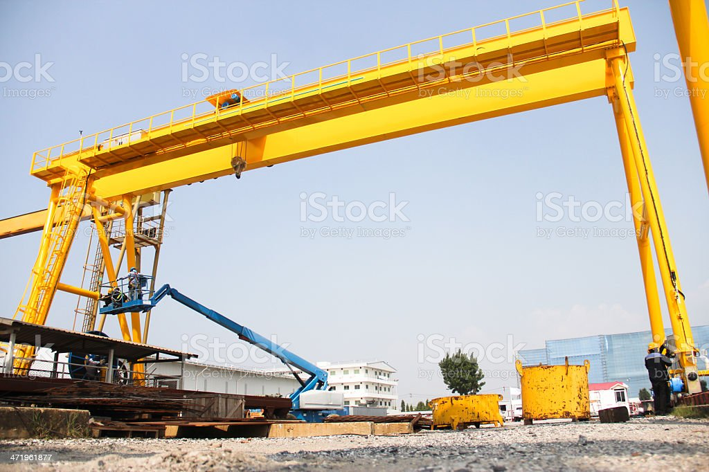 low angle crane stock photo