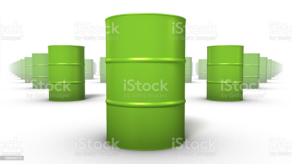 Low angle front view of endless Oil Drums stock photo