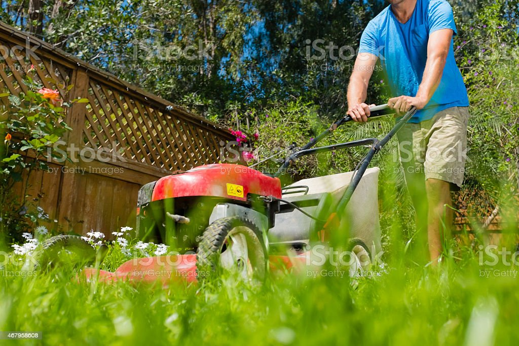 Low Angle Lawn Mower stock photo