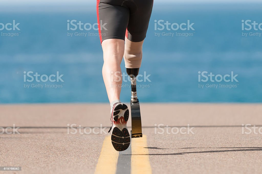 Low Angle Of Prosthetic Leg Running stock photo