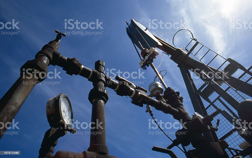 Low Angle of Pump Jack royalty-free stock photo