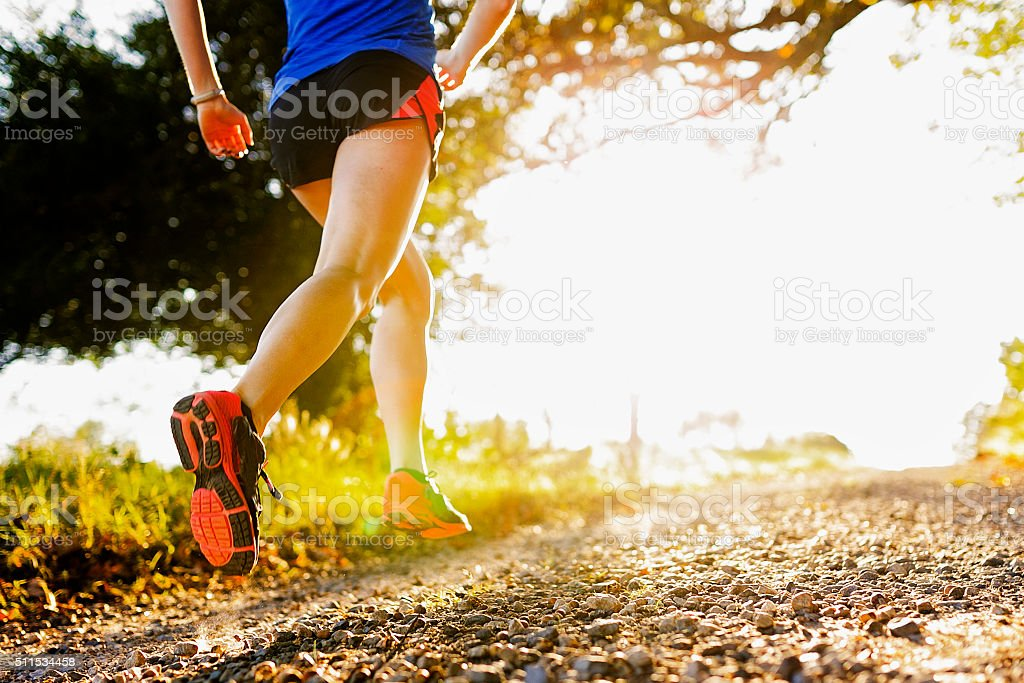 Low Angle of Running Shoe stock photo