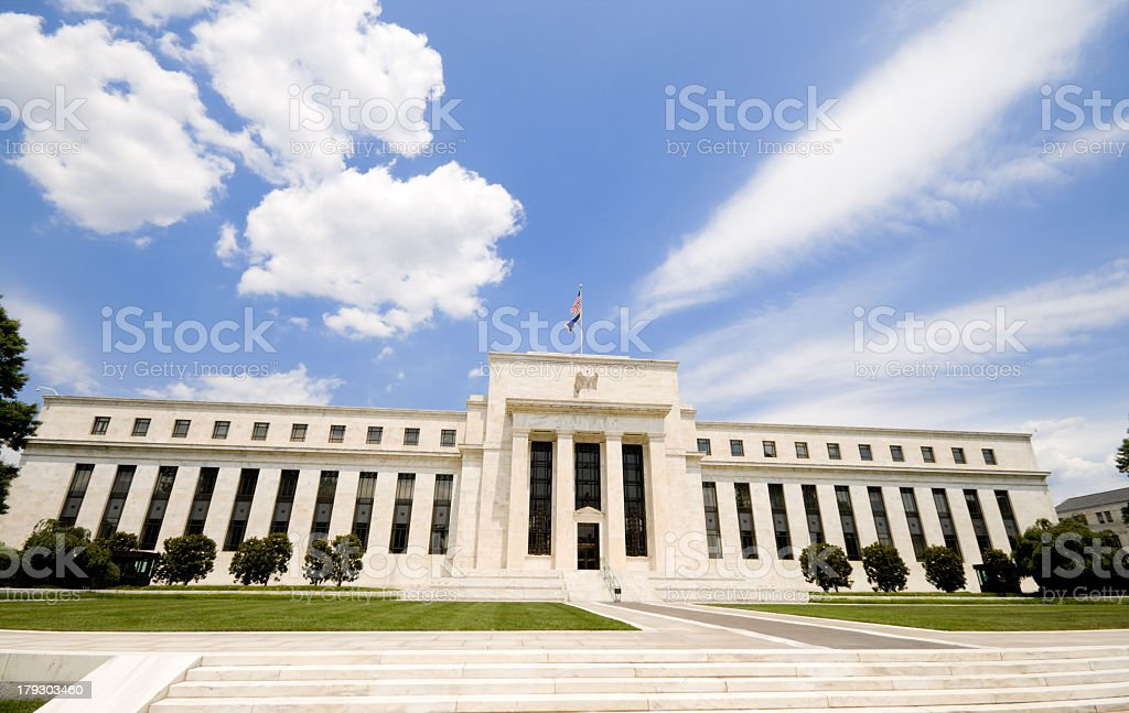 Low angle of the Federal Reserve Building in Washington, DC stock photo