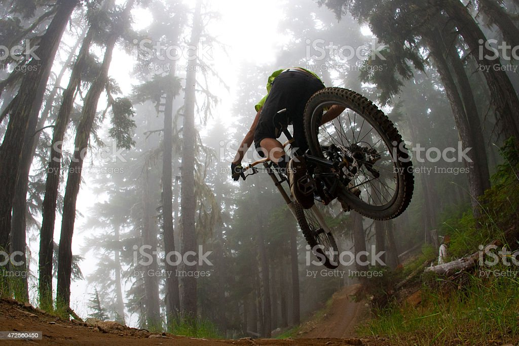 Low angle photo of mountain biker jumping in forest stock photo