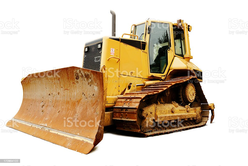 Low angle shot of a bulldozer isolated on white stock photo