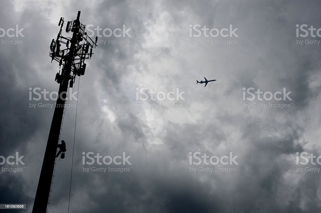 Low Angle Shot of Communications Tower Silhouette royalty-free stock photo