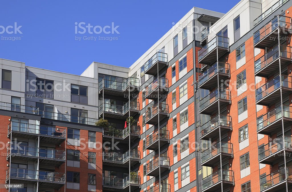 Low angle shot of modern executive apartment building royalty-free stock photo