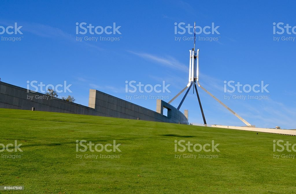 Low angle shot of Parliament House spire in Canberra stock photo