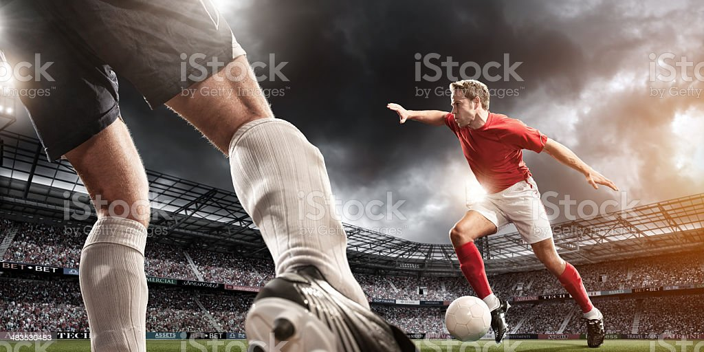 Low Angle Soccer Action stock photo