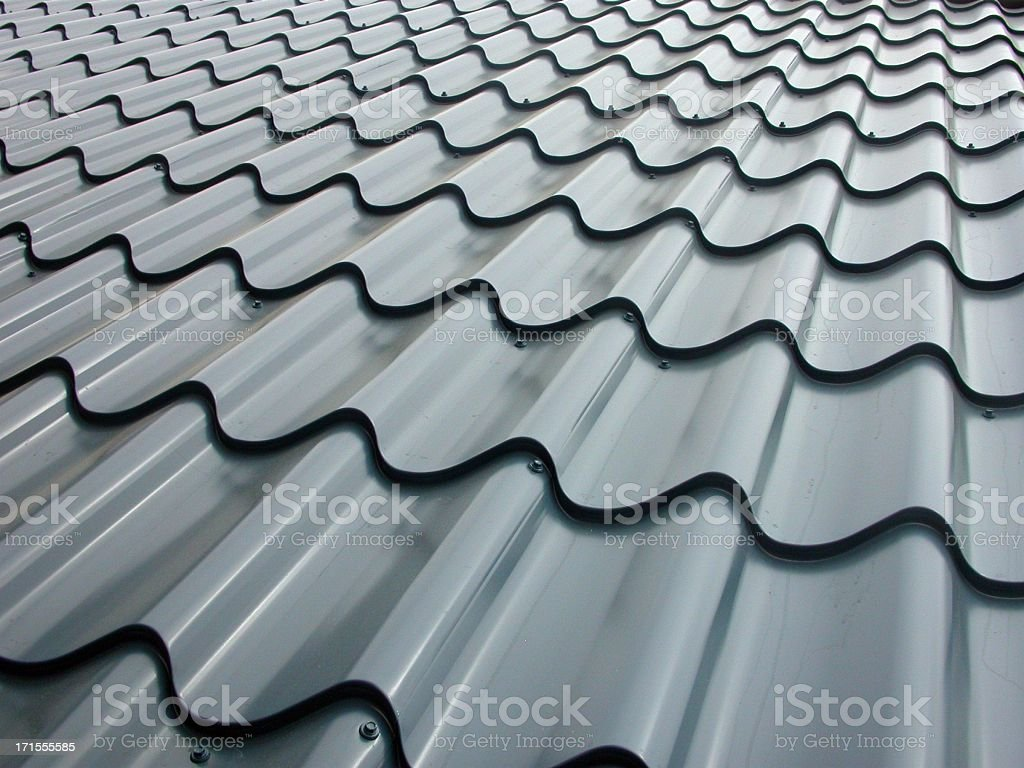 Low angle view across galvanized roof panels royalty-free stock photo