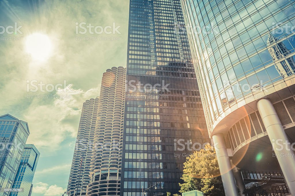 Low angle view building in Chicago, Illinois stock photo