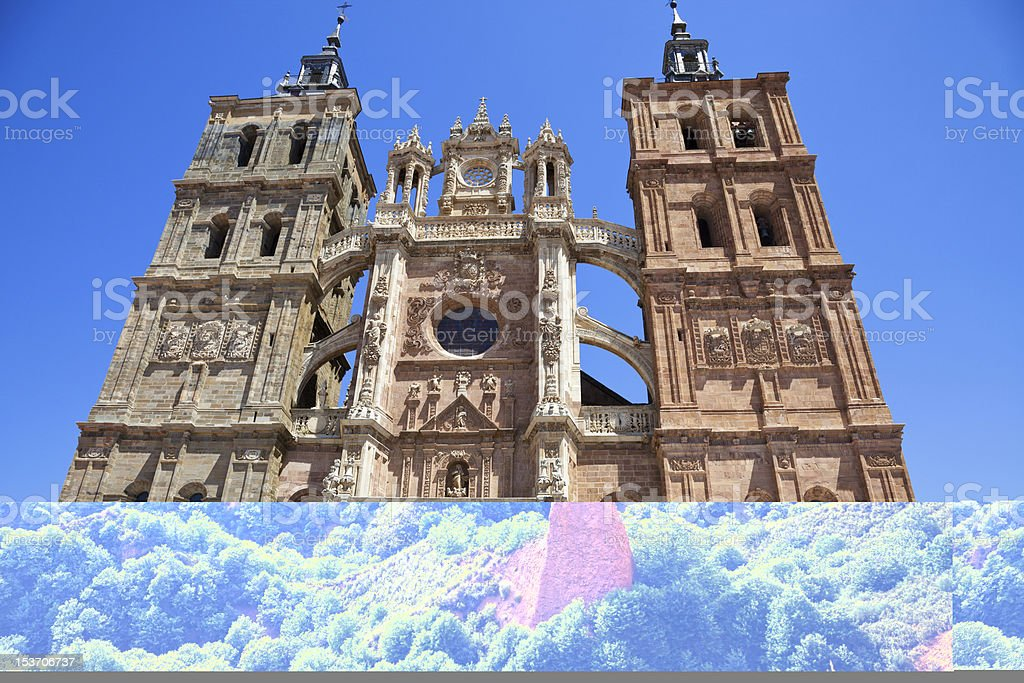Low angle view of a castle in the Province of Leon Spain stock photo