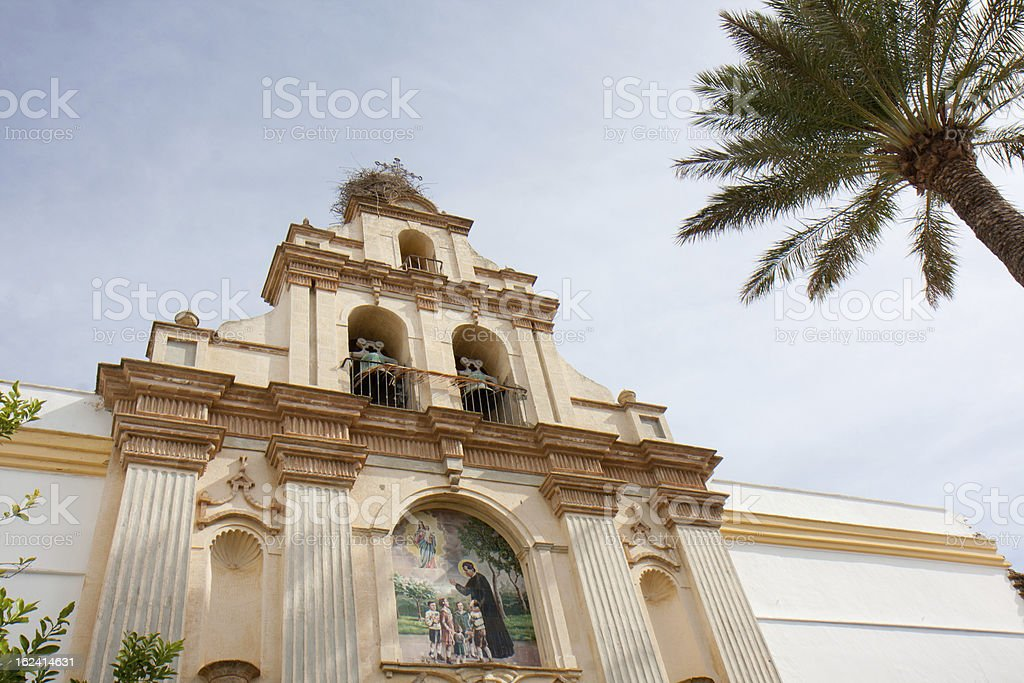 Low angle view of a church. stock photo