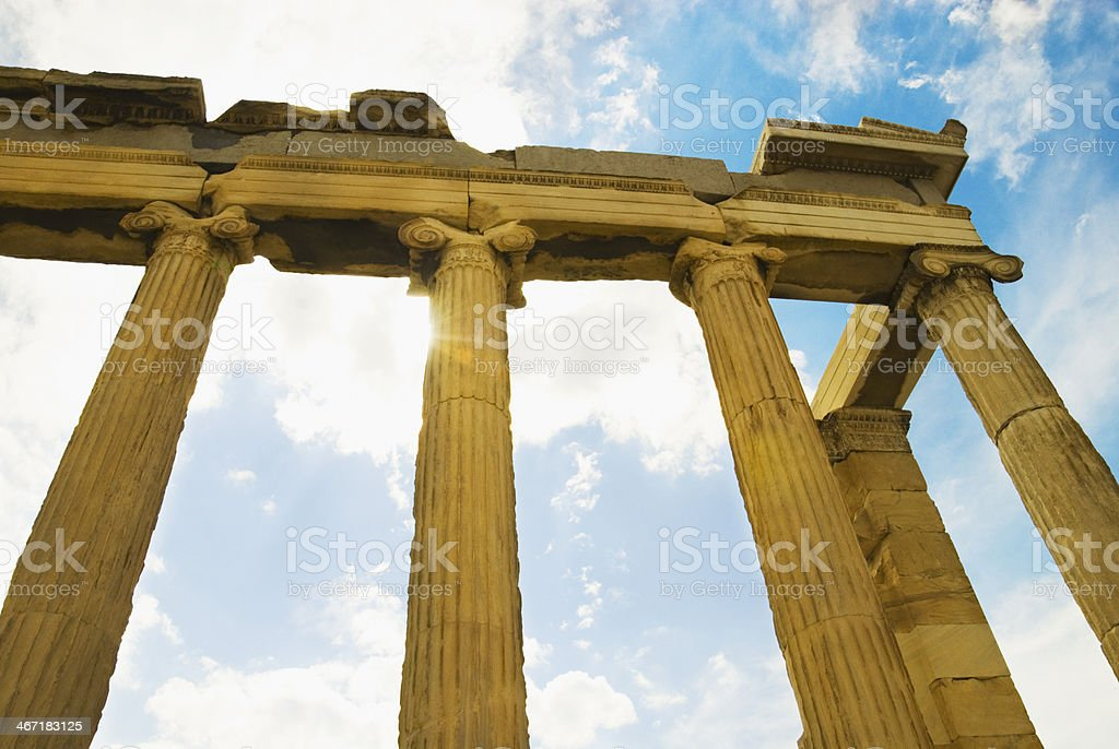 Low angle view of a colonnade stock photo