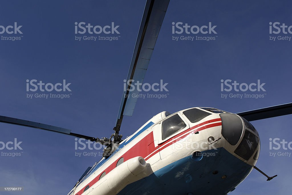 Low angle view of a helicopter royalty-free stock photo