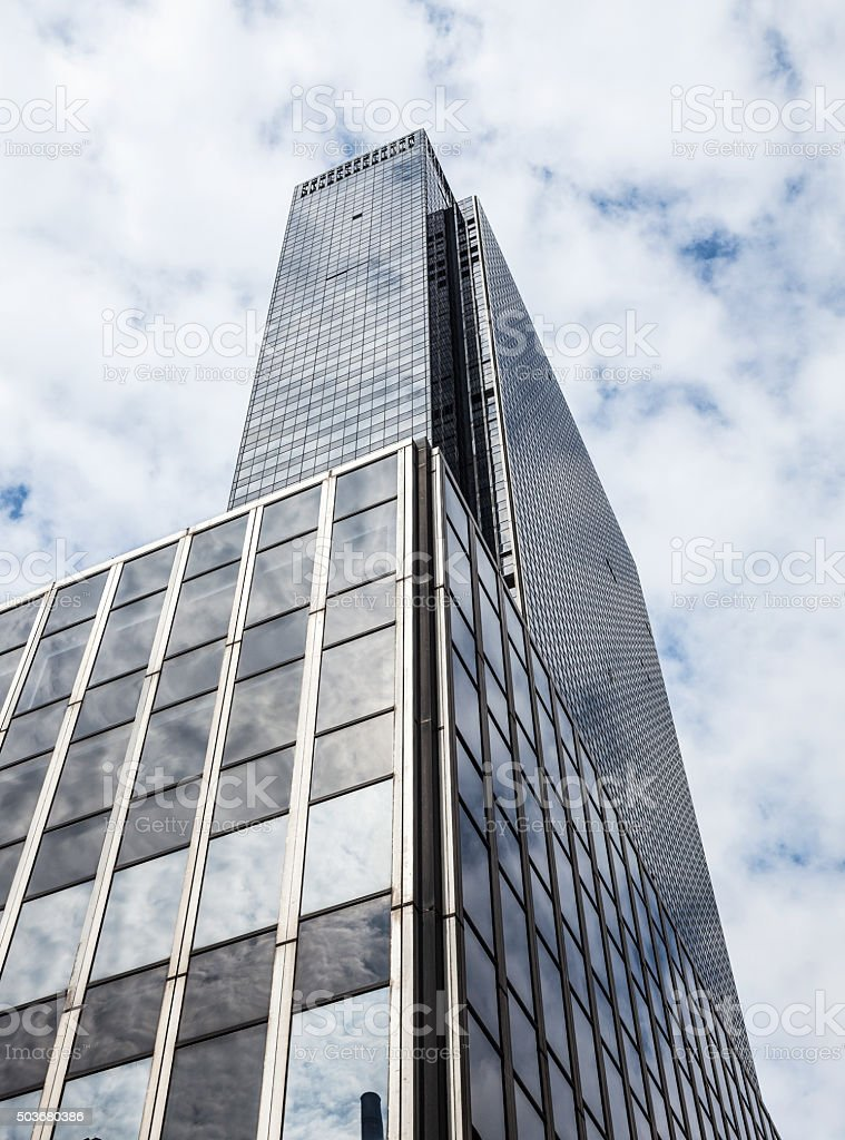 Low angle view of a modern office building New York stock photo