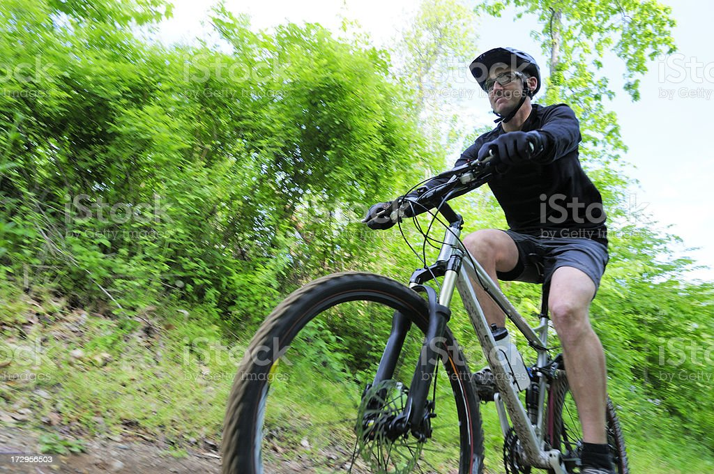 Low angle view of a Mountain Biker. royalty-free stock photo