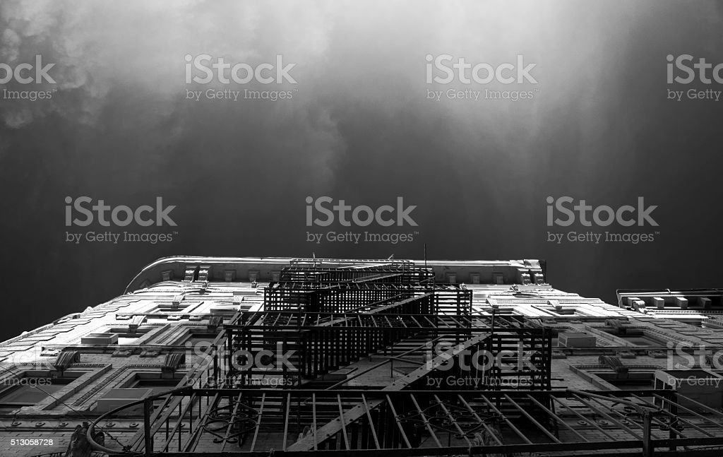 Low angle view of a tall building in China Town stock photo