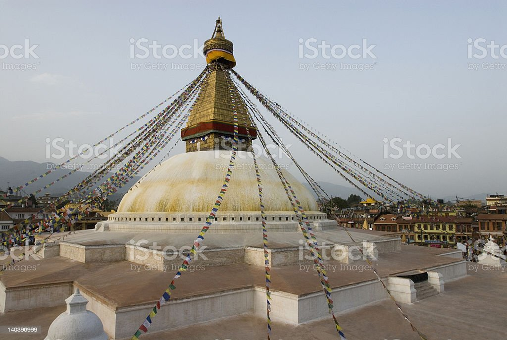 Low angle view of a temple, Swayambhunath, Kathmandu, Nepal royalty-free stock photo