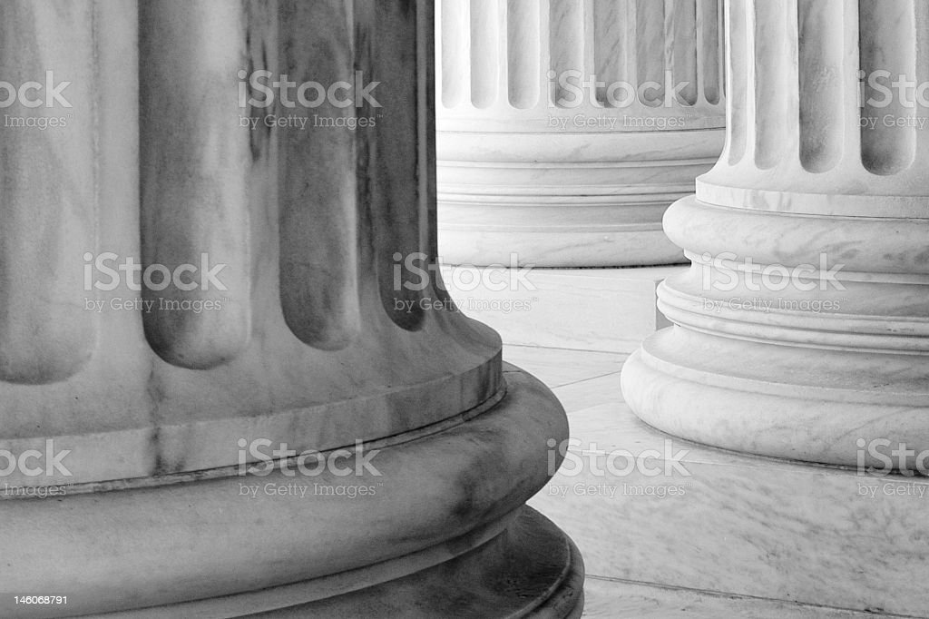 Low angle view of base of Neoclassical columns royalty-free stock photo