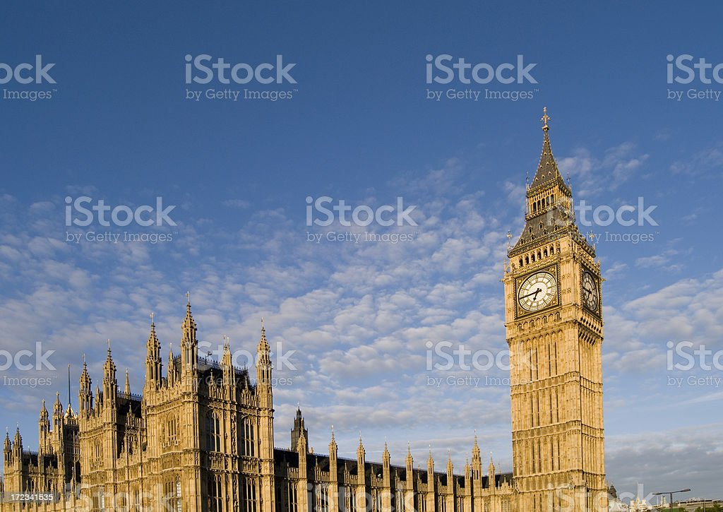 Low angle view of Big Ben on a cloudy day. royalty-free stock photo