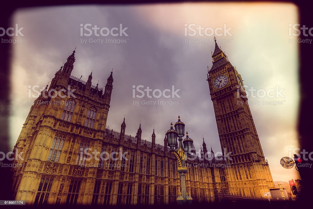 Low Angle View of Big Ben stock photo