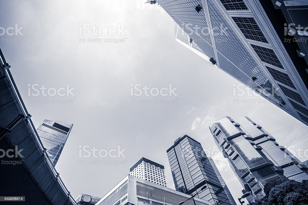 Low Angle View of Business Towers in Hong Kong stock photo
