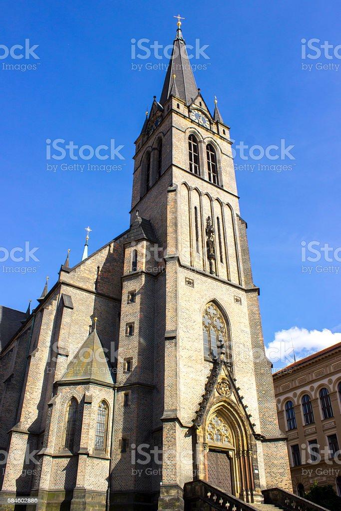 Low angle view of church in Prague, Czech Republic stock photo