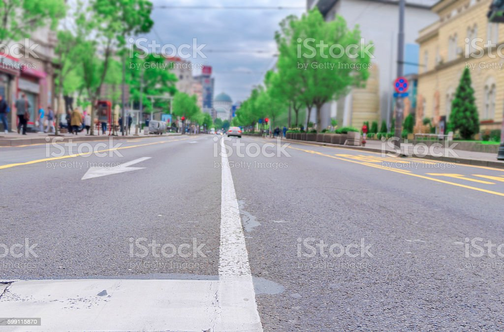 Low angle view of city street stock photo