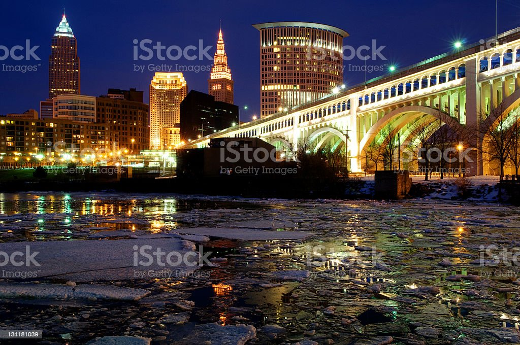 Low angle view of Cleveland cityscape skyline stock photo