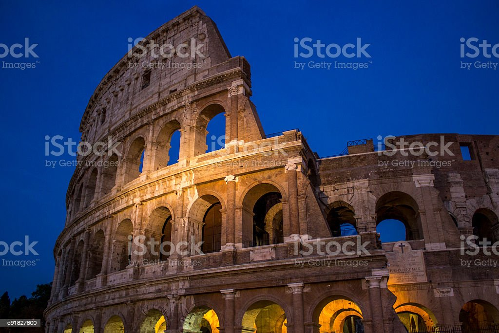 Low angle view of Colosseum in Rome; Italy stock photo