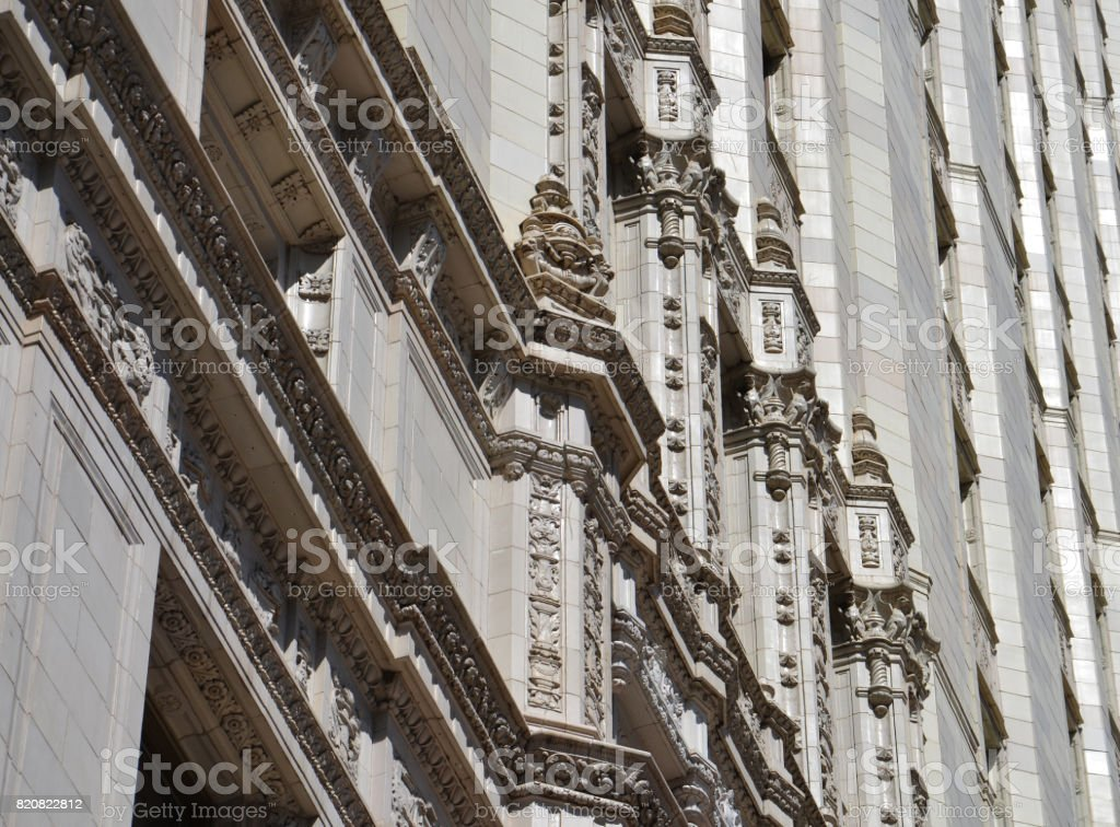 Low Angle View of Detailed Classic Architectural Facade, Chicago. Illinois, USA stock photo