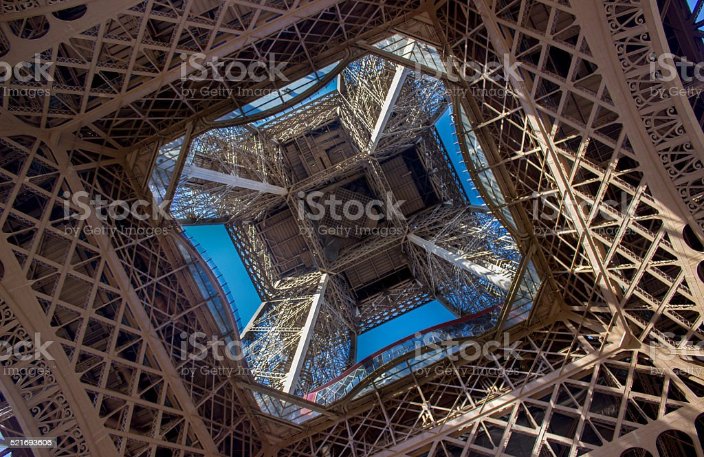 Low angle view of Eiffel tower stock photo