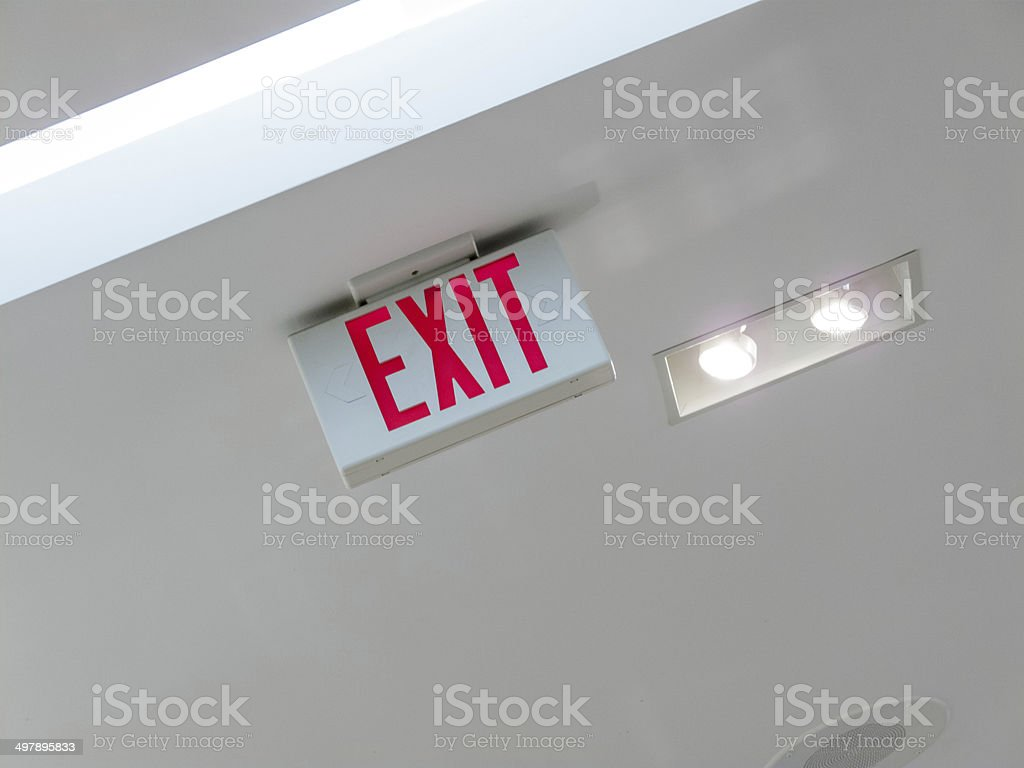 Low angle view of Exit Sign stock photo