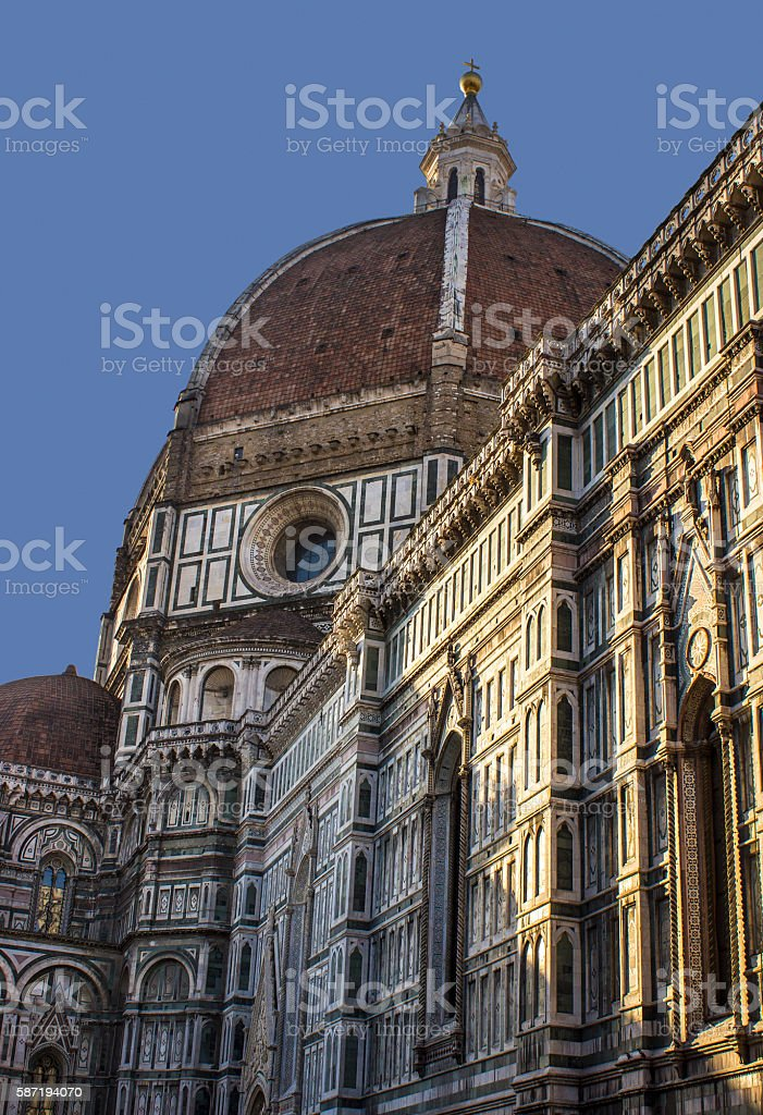Low angle view of Florence Cathedral in Florence, Italy stock photo