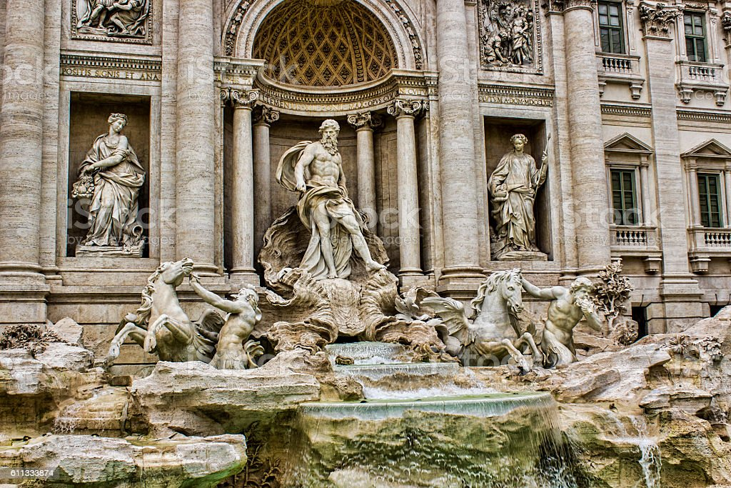 Low angle view of Fontana di Trevi in Rome, Italy stock photo