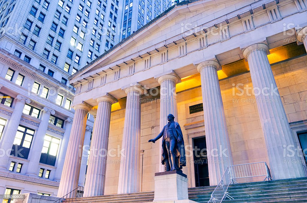 Low angle view of George Washington statue at Federal Hall stock photo