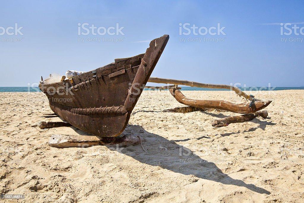 Low angle view of Goan Fishermans catamaran royalty-free stock photo