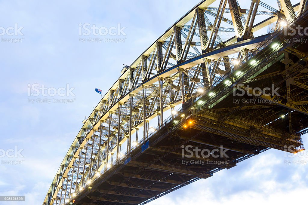 Low angle view of Harbour Bridge at evening, copy space stock photo