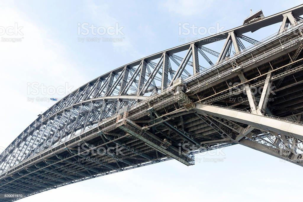Low angle view of Harbour Bridge, Sydney Australia, copy space stock photo