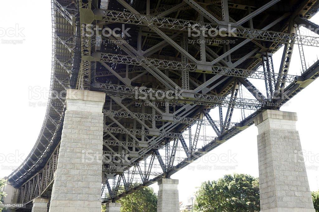 Low angle view of Harbour Bridge with pillars, Sydney Australia stock photo