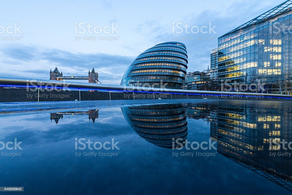 Low Angle View Of Illuminated Modern Buildings Exterrior stock photo