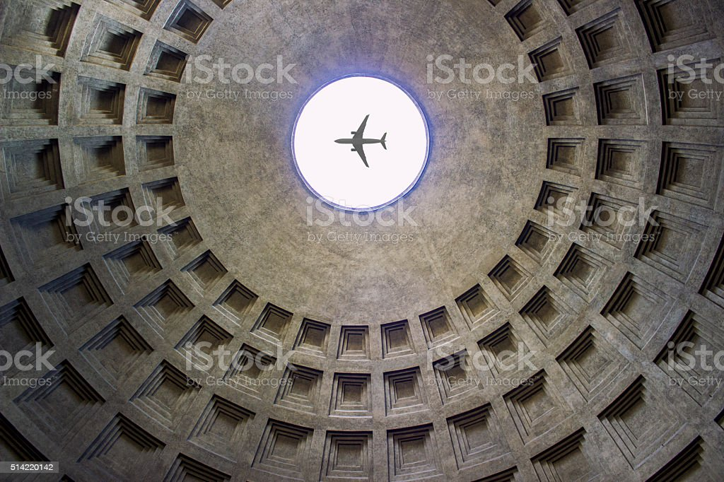 Low angle view of interior of Pantheon in Rome, Italy stock photo