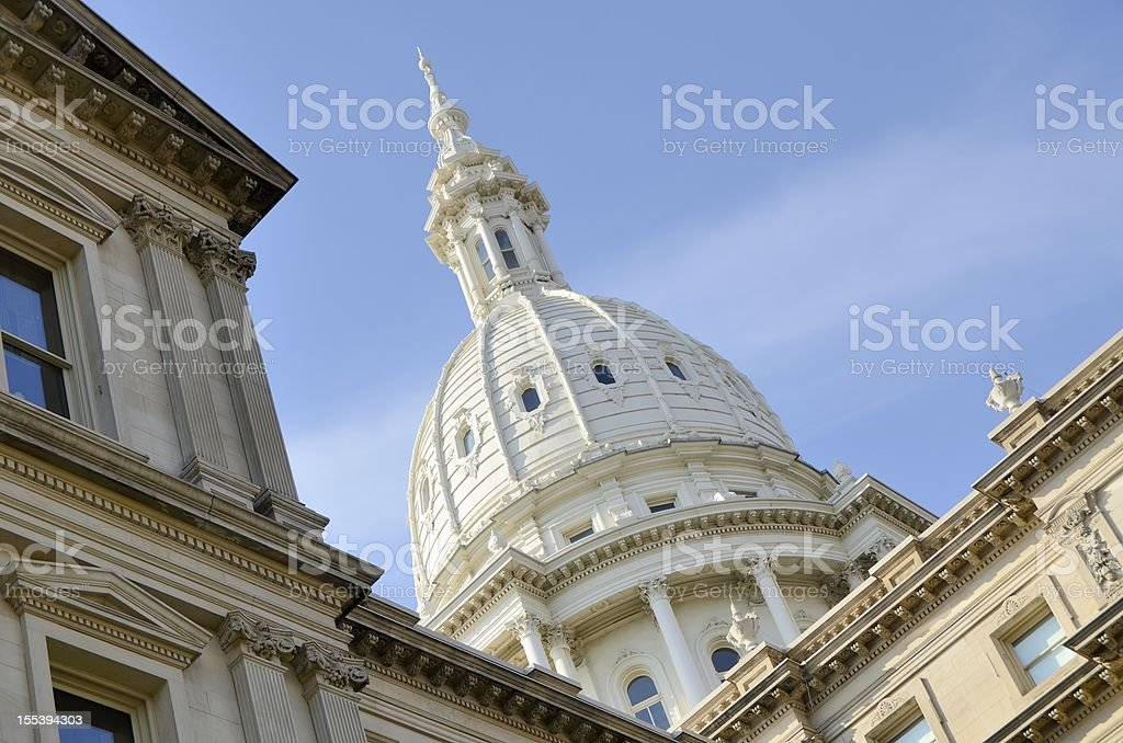 Low angle view of Lansing, Michigan Capitol building cupola stock photo