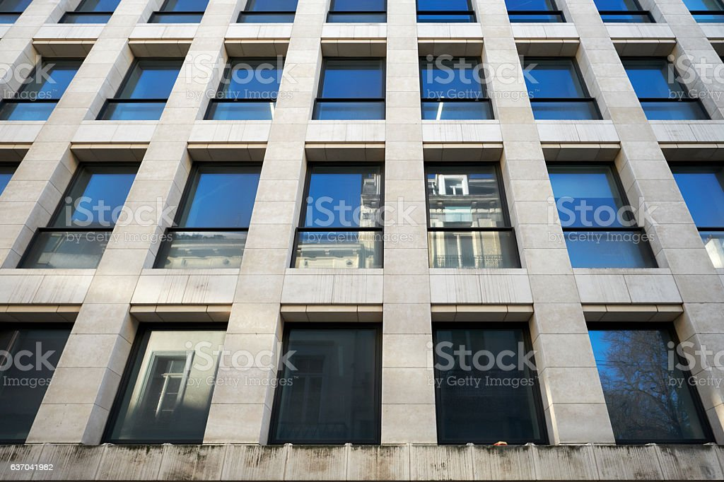 Low angle view of modern building stock photo