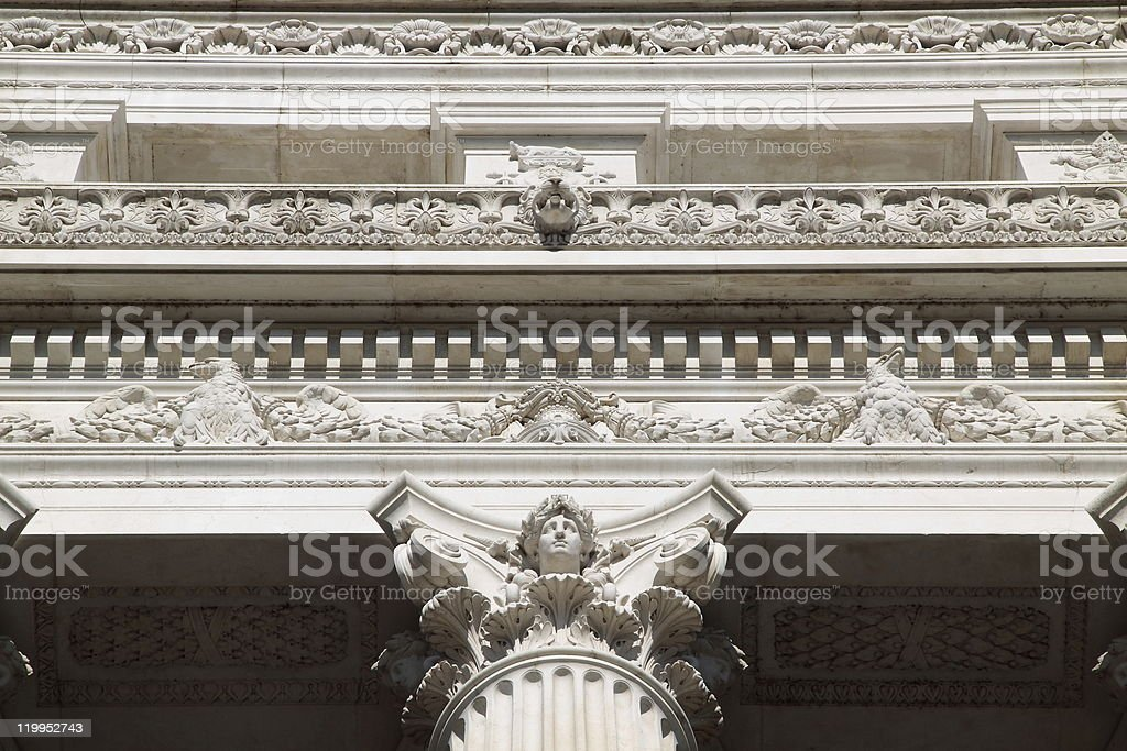 Low Angle View of Neoclassical Marble Monument royalty-free stock photo